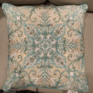 Tiffany Blue Beaded Decorative Plush Throw Pillows